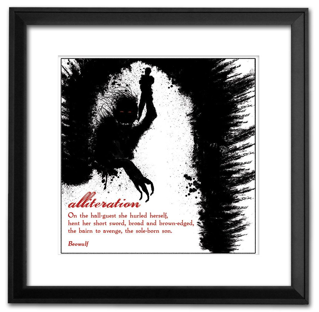 Literary Term Art Print Alliteration Beowulf Black And