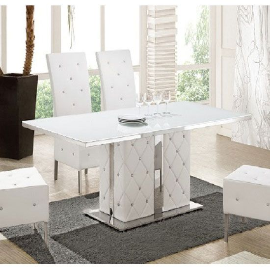 Levo Glass With High Gloss Base Rhinestones Dining Table Mesas