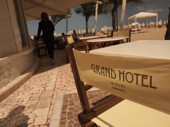 """Grand Hotel Rimini - Beach chairs by the hotel beach bar"" by @Keane Li"