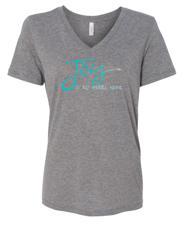 Joy Is Her Middle Name Tee Shirt, V Neck T Shirt, Choose Joy Shirt, Joyful Shirt, Womens Clothing, Inspirational Gifts by TheJoyfulJewelryBox on Etsy