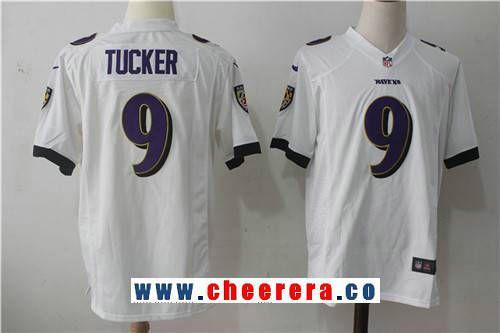 Men's Baltimore Ravens #9 Justin Tucker White Road Stitched NFL ...