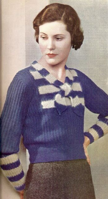 c692638b043463 The Vintage Pattern Files  Free 1930 s Knitting Pattern The Charm of Blue    Grey