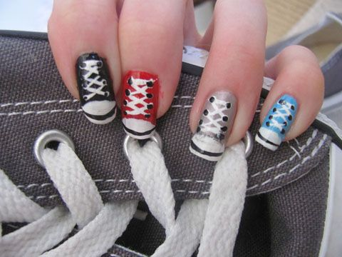 """If Converse chucks tickle your fancy, then rock them beyond your feet. Check out these killer shoe nail designs; who would've thought your nails could be so street?"""