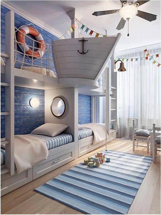 Coastal Bunkroom Kinderzimmer Junge, Schlafzimmer Ideen, Spielzimmer,  Reetdachhaus, Nautisches Schlafzimmer, Bootshaus