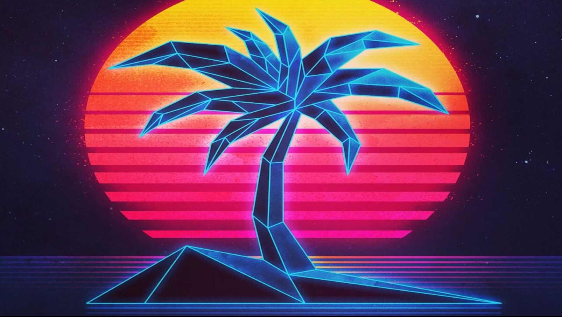 80s plam tree sunset Retro prints, Retro art, Neon