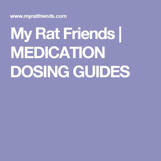 My Rat Friends Medication Dosing Guides Medical Pet Care Litter Training
