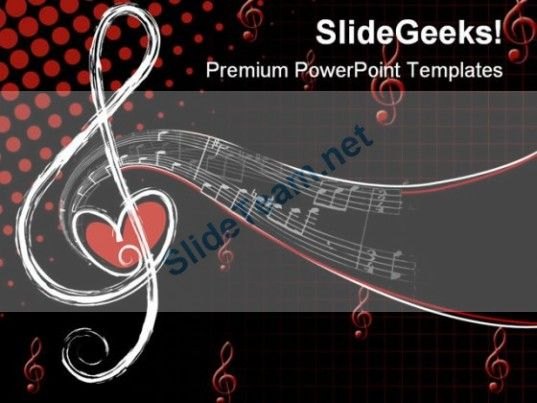 Music Notes Abstract Powerpoint Template  Powerpoint