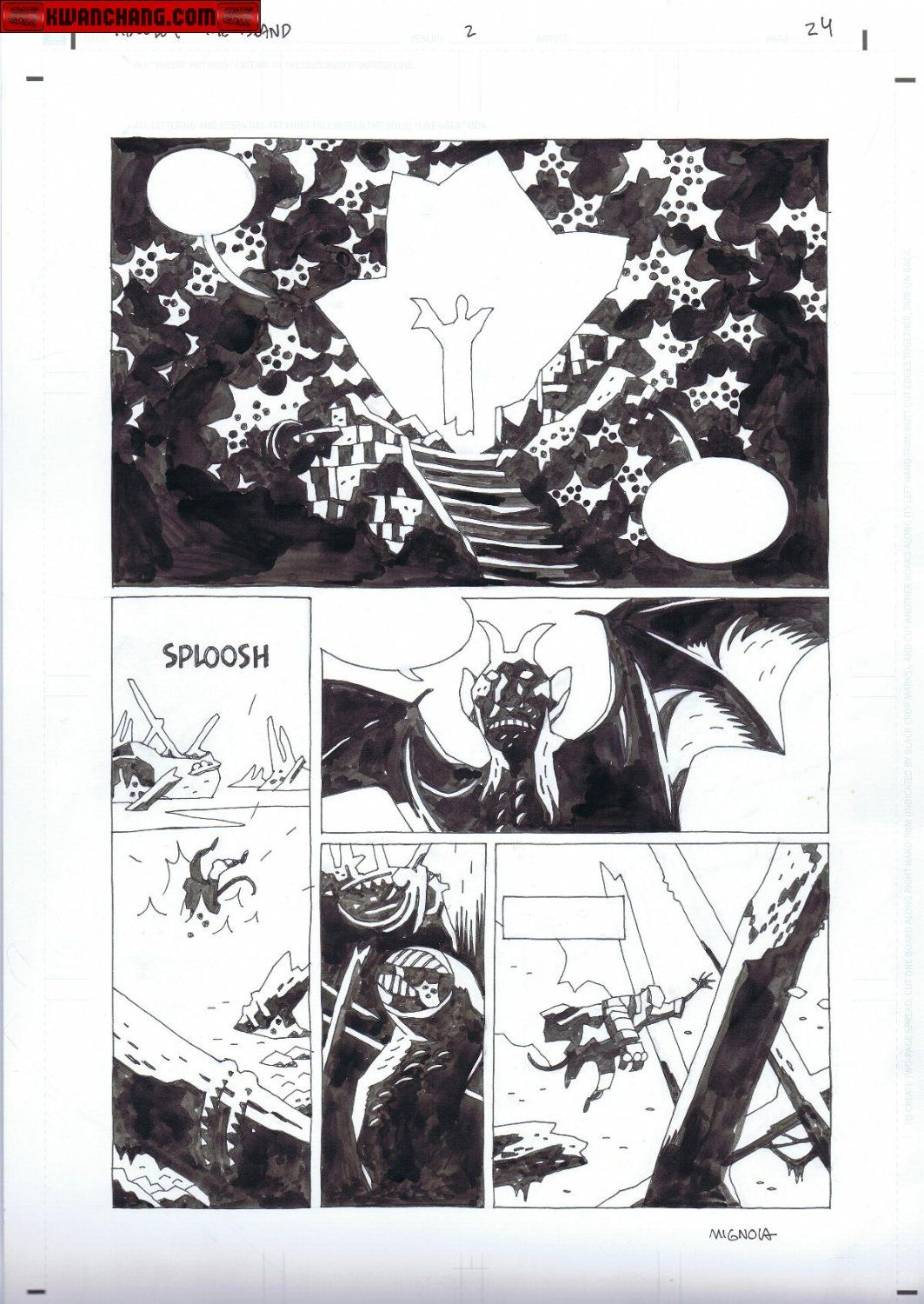 Kwan Chang :: For Sale Artwork :: Hellboy : The Island by artist Mike Mignola