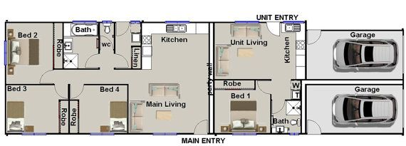 Narrow Duplex Design 171 M2 1830 Sq Foot Duplex House Etsy Duplex Design House Plans Australia Duplex House Plans