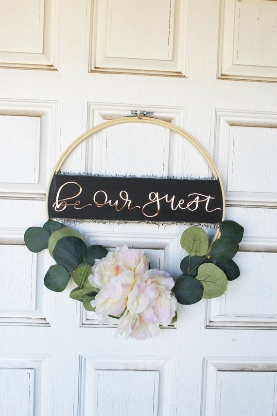 Photo of Be Our Guest Embroidery Hoop Door Wreath | Spring Peony and Eucalyptus Wreath