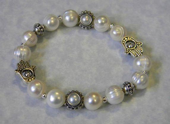 Freshwater Pearl and Bali Silver Hamsa Bead Frame Stretch Bracelet