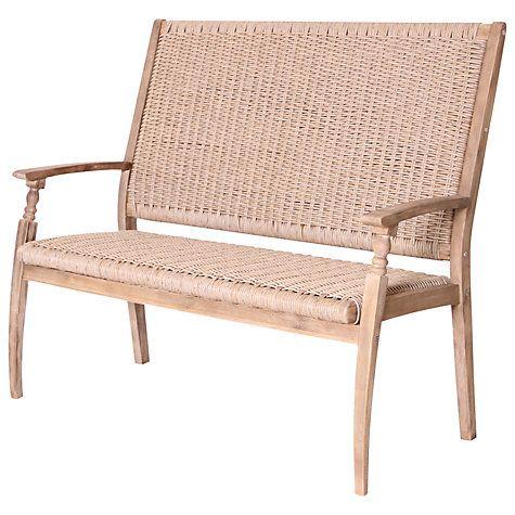 Buy Leisuregrow Wood & Weave 2-Seat Bench Online at johnlewis.com ...