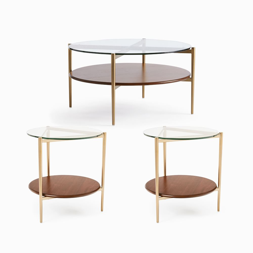 Mid Century Art Display 34 Round Coffee Table 2 Side Tables Set In 2021 Coffee Table Modern Side Table Round Coffee Table [ 1000 x 1000 Pixel ]