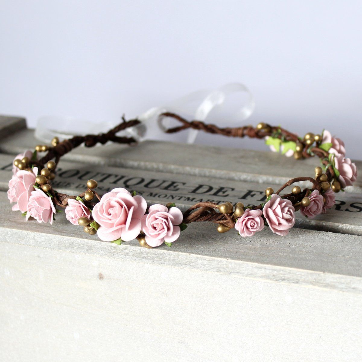 Lucy Pink Blush And Gold Flower Crown Handmade Flower Crown Made