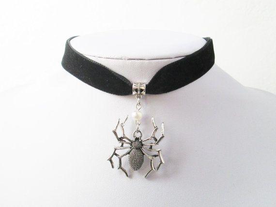 *LARGE SPIDER/'S WEB /& SPIDER* BLACK Velvet Choker Necklace HALLOWEEN Fancy Dress