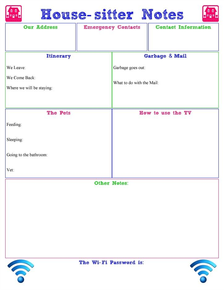 House Sitter Notes Printable House Sitter Pet Sitting Forms Sitter