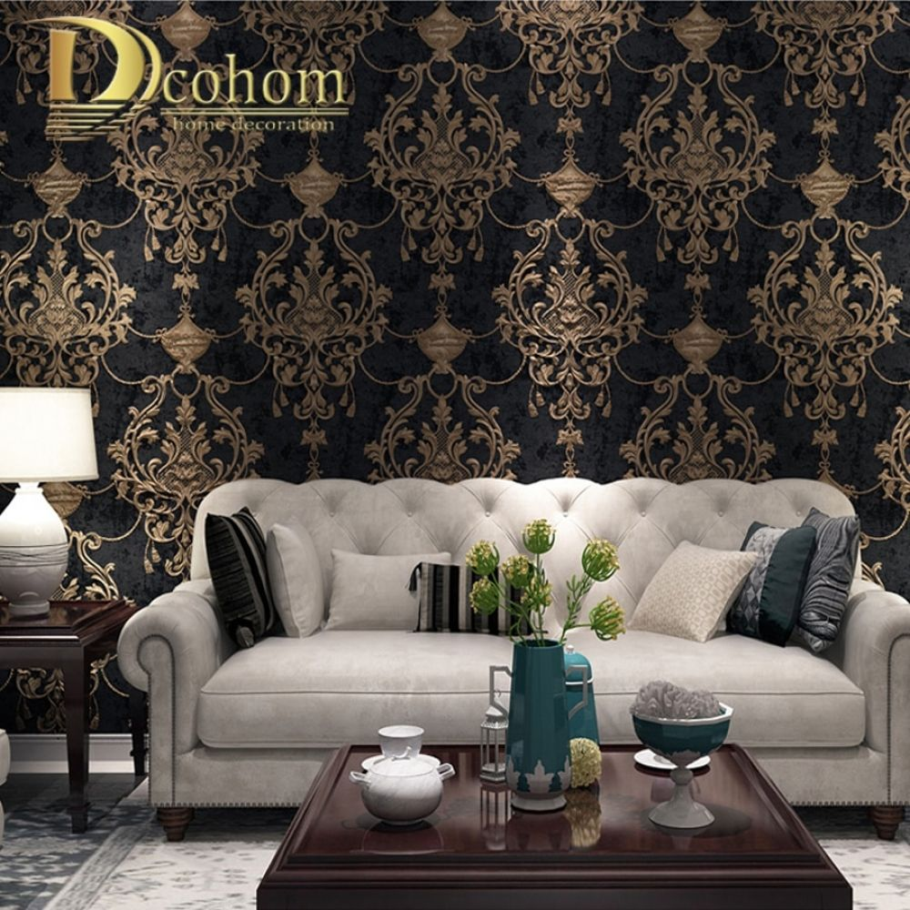European Style Damask Wallpaper 3d Embossed Luxury Wall