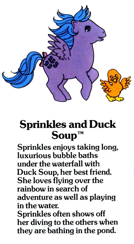 My Little Pony Sprinkles and Duck Soup fact file ...