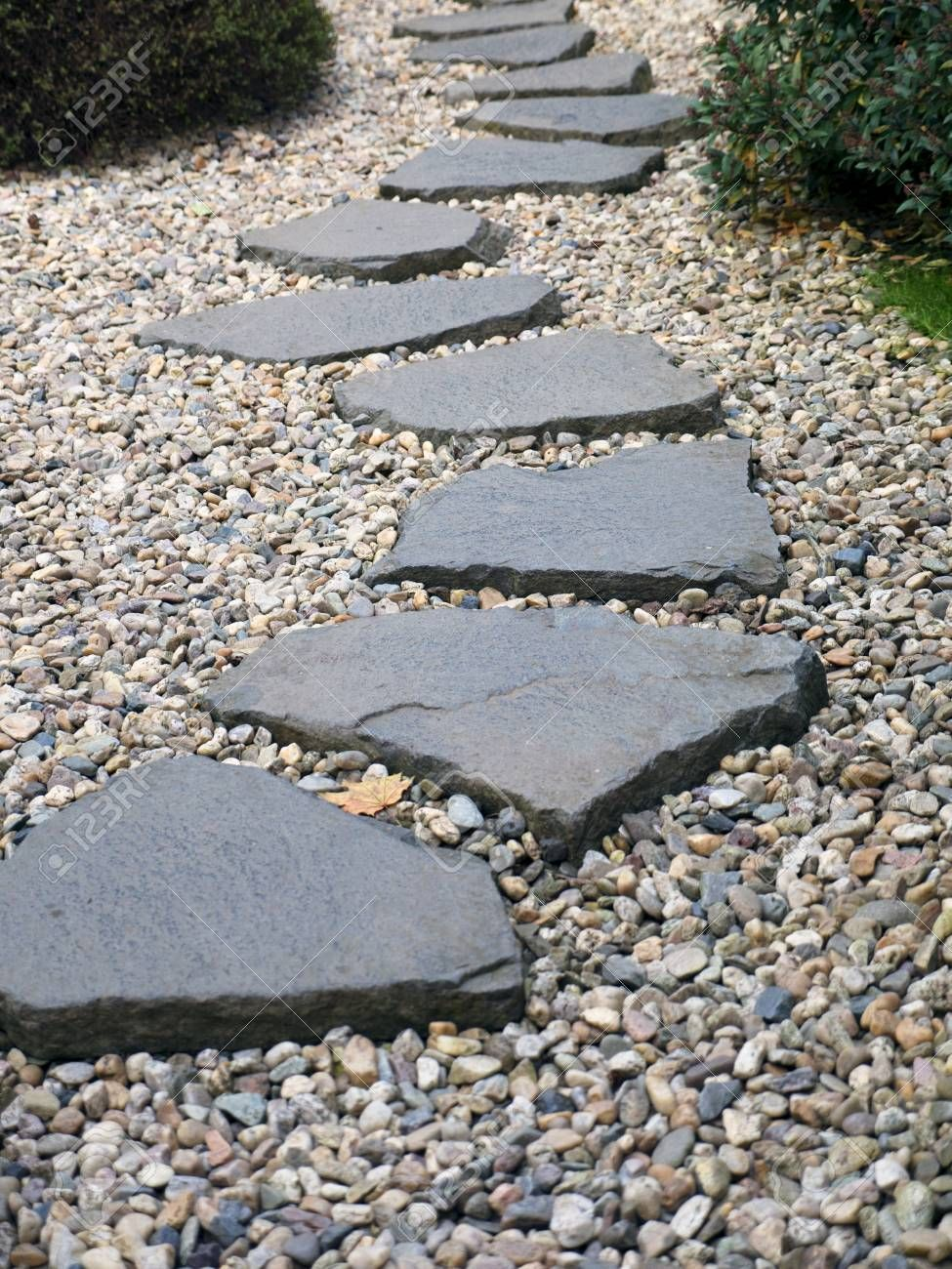 Path of plated stones on the gravel bed in Japanes