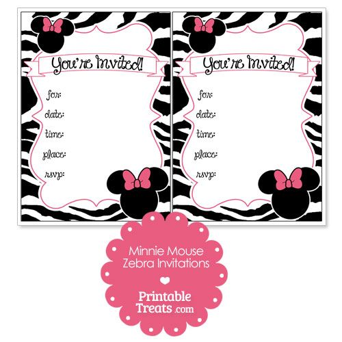Printable Minnie Mouse Zebra Invitations From Printabletreats Com