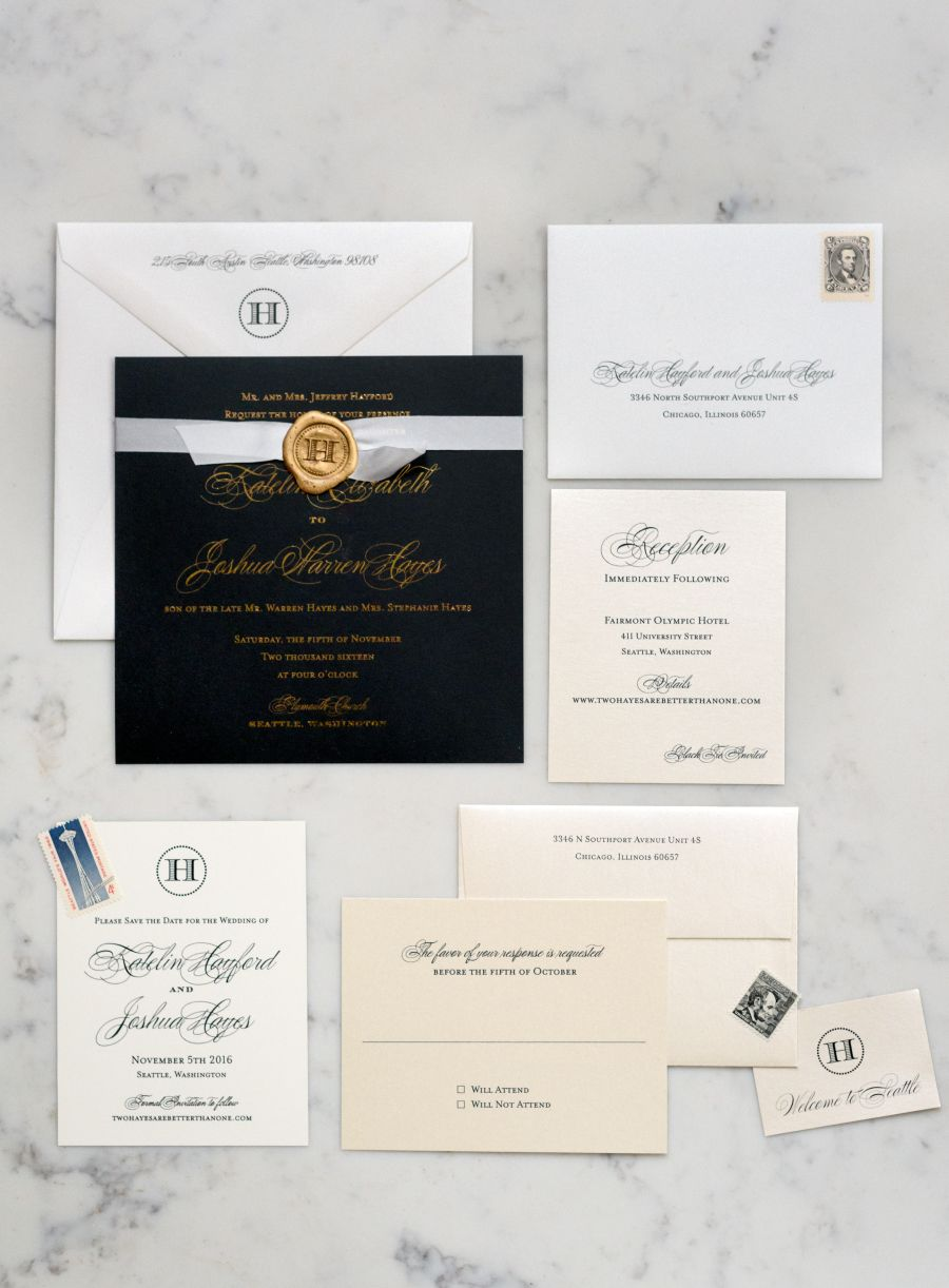 Classic elegant wedding invitation suite: Invitations: Sarah Drake Design - http://www.stylemepretty.com/portfolio/sarah-drake-design-llc Photography: O'Malley Photographers - omalleyphotographers.com   Read More on SMP: http://www.stylemepretty.com/2017/05/25/classic-fall-seattle-wedding/