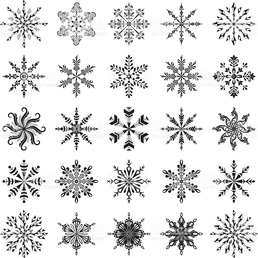 Personnes notables Christmas decoration: set snowflakes, black contour on white  AF38