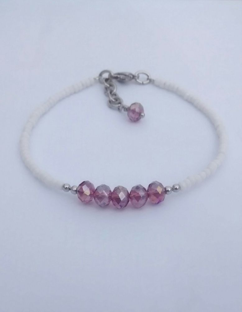 White Seed Beads Purple Faceted Crystal Beaded Bracelet 7 75 Inches