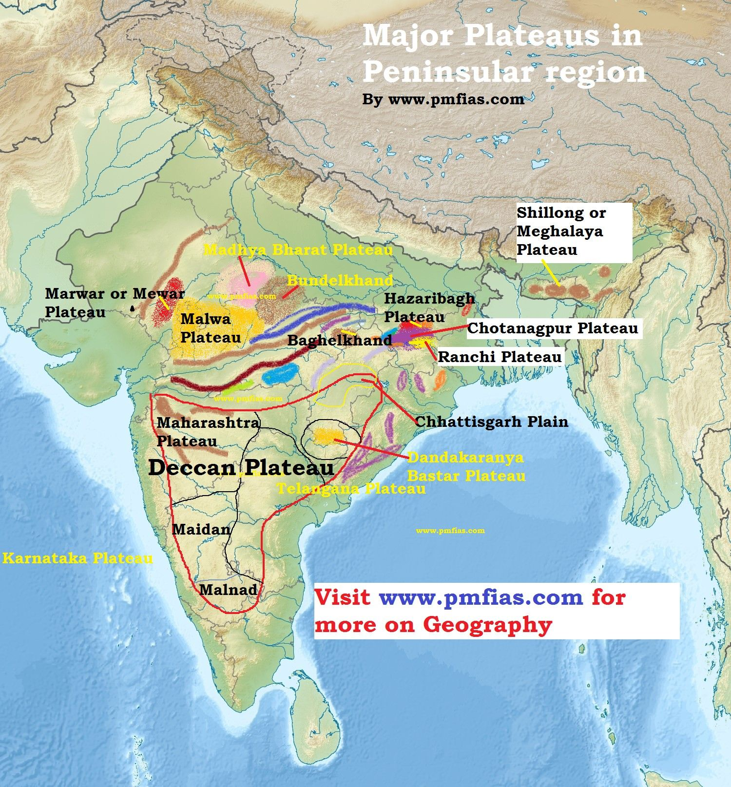 Peninsular Plateau – Deccan Plateau | Maps | Indian river ...