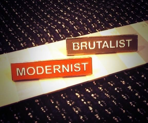 """""""Brutalist"""" and """"Modernist"""" badges, available from The Modernist magazine's online shop"""