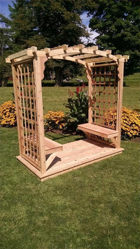 Cedar Cambridge Amish Outdoor Arbor With Benches And Deck Cedar