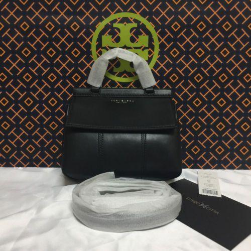 9e973d3cf8 NWT Tory Burch T Mini Satchel Black Women's Handbag Crossbody Bag $298+ Tax