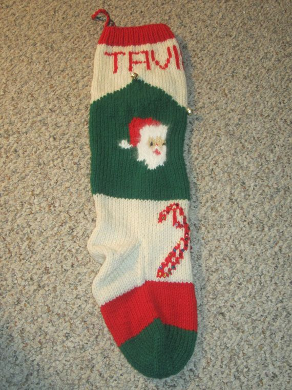 Vintage Personalized Hand Knit Christmas Stocking / Sock for ...