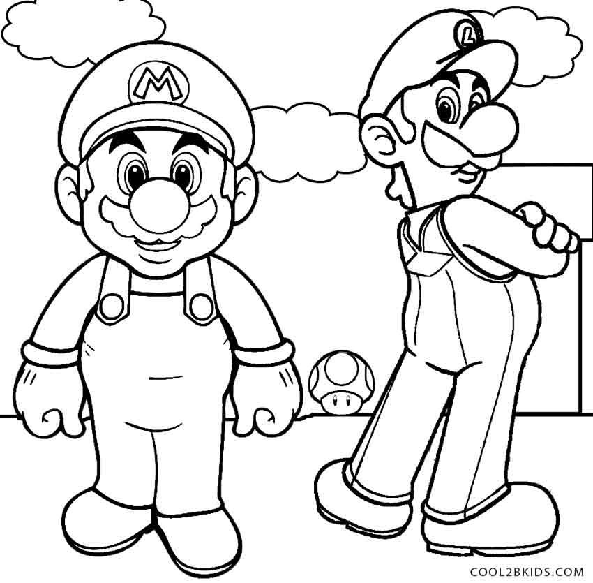 Printable Luigi Coloring Pages For Kids | Cool2bKids | Line art ...