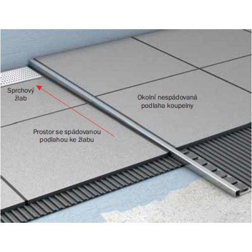 ACO ShowerStep prechodová lišta 990 mm, leštený povrch, ľavý 9010.72.56