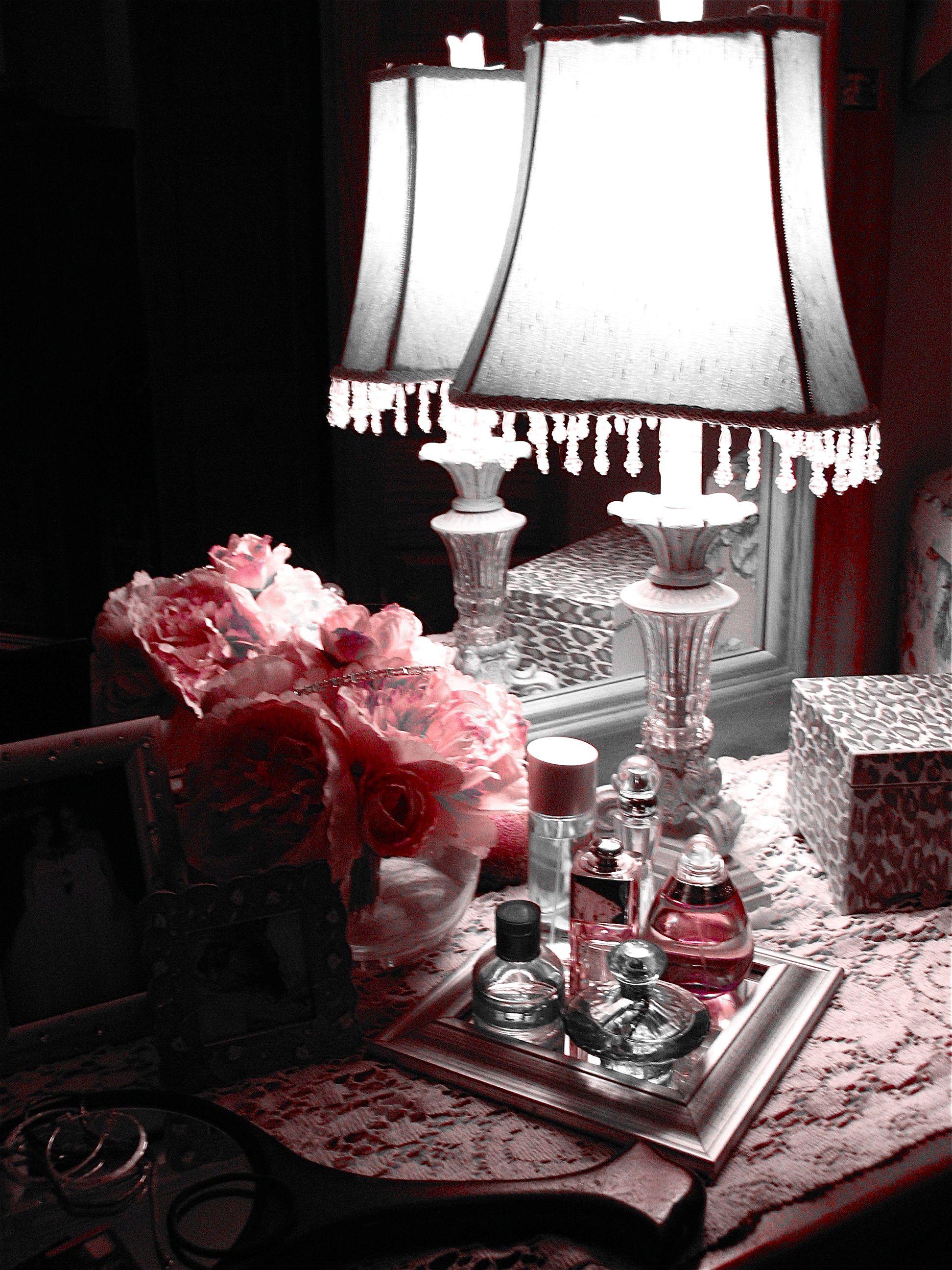 boudoir decorating    perfume bottles on my nightstand  why didn t. boudoir decorating    perfume bottles on my nightstand  why didn t