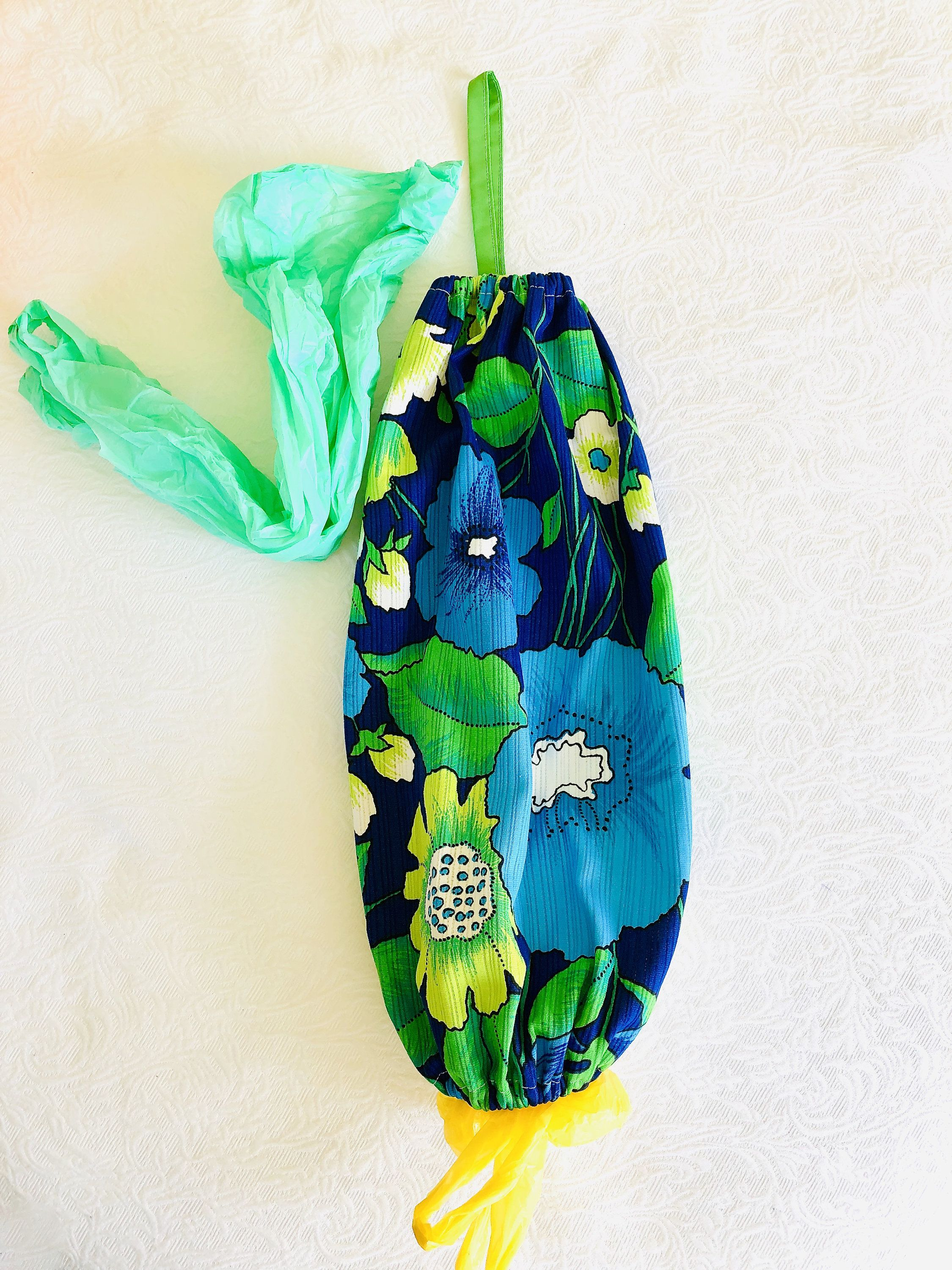 Grocery Bag Holder Plastic Bag Storage Vintage Fabric Blue White Green Floral Decluttering Kitchen Storage Housewarming Recycling Gift Grocery Bag Holder Fabric Gifts Bag Holder