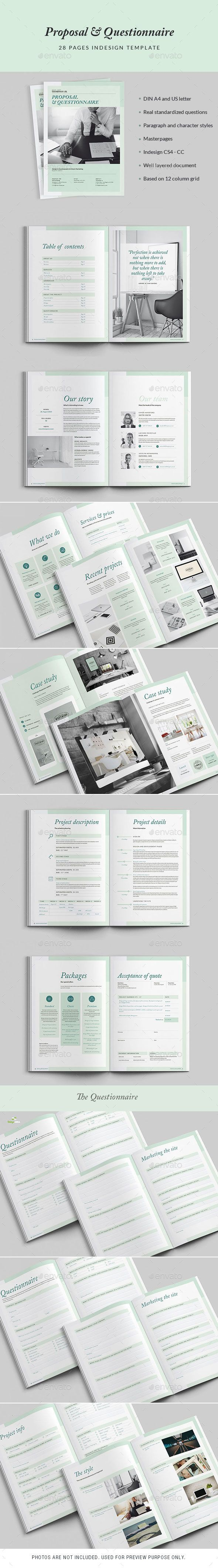 28 Pages Proposal and Questionnaire Template InDesign INDD. Download ...