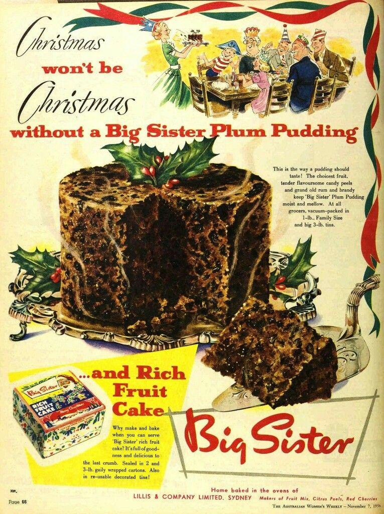 Big Sister Plum Pudding Christmas Fruit Cake 1956 Plum Pudding