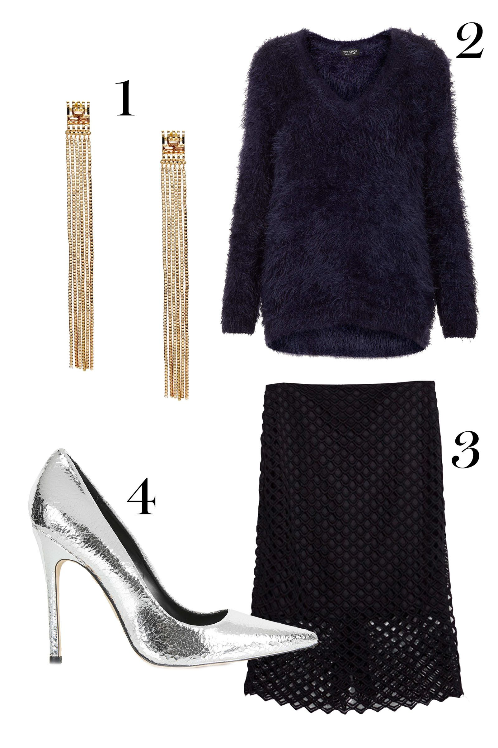 1. ASOS earrings, $15.16;asos.com.  2. Topshop sweater, $24,topshop.com.  3.Zara lace skirt, $79.90; zara.com.   4.Topshop heels, $95; zara.com.  - MarieClaire.com