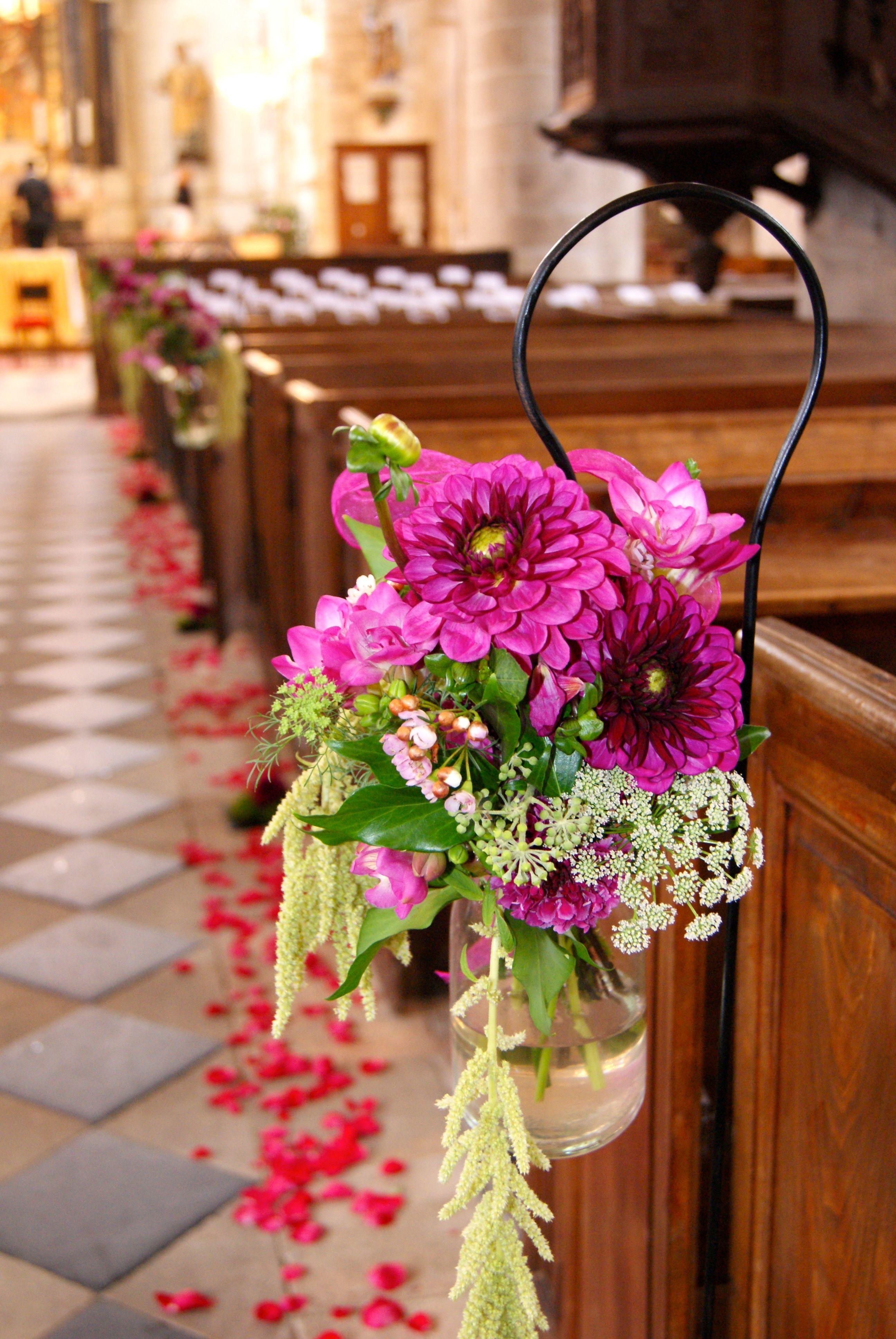 décoration d'église pour le mariage d'estelle et arnaud / création