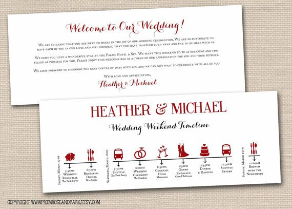 Wedding Weekend Timeline and Welcome Note Printable PDF \/\/ Wedding - wedding itinerary