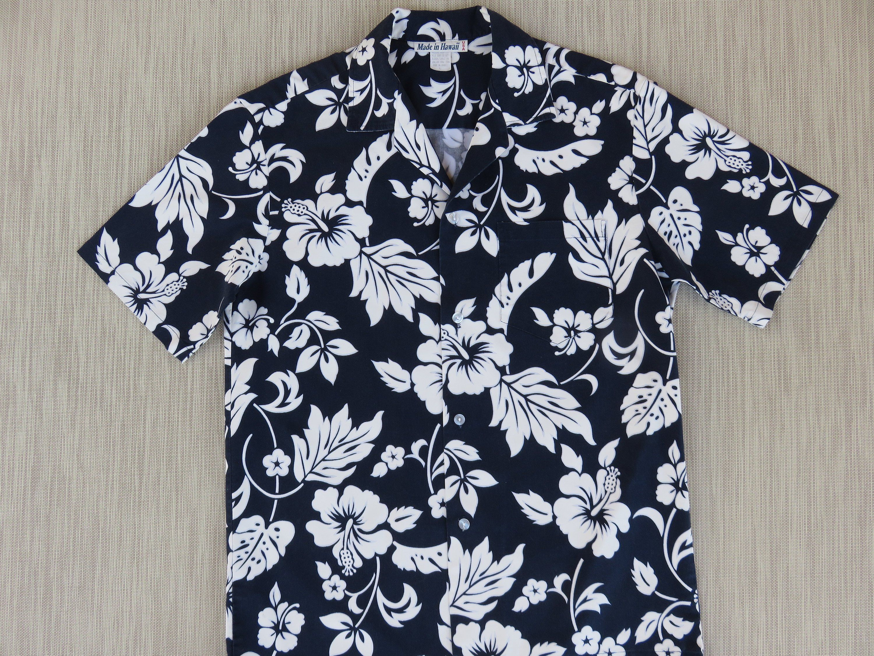 ecbfd14f Mens Hawaiian Shirt MADE in HAWAII Hip Navy Blue Aloha Shirt Trippy  Tropical Hibiscus Flower 100% Cotton Camp - L - Oahu Lew's Shirt Shack by  ...