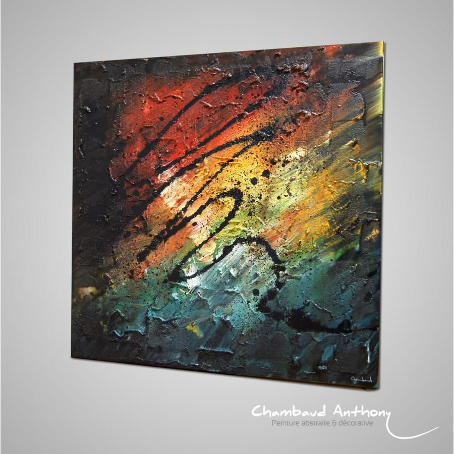 Tableau sable multicolor tableau multicolor contemporain for Tableau contemporain
