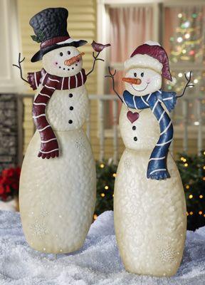 Christmas Snowmen Outdoor Garden Stakes From Collections Etc Outdoor Christmas Decorations Christmas Snowman Outdoor Christmas