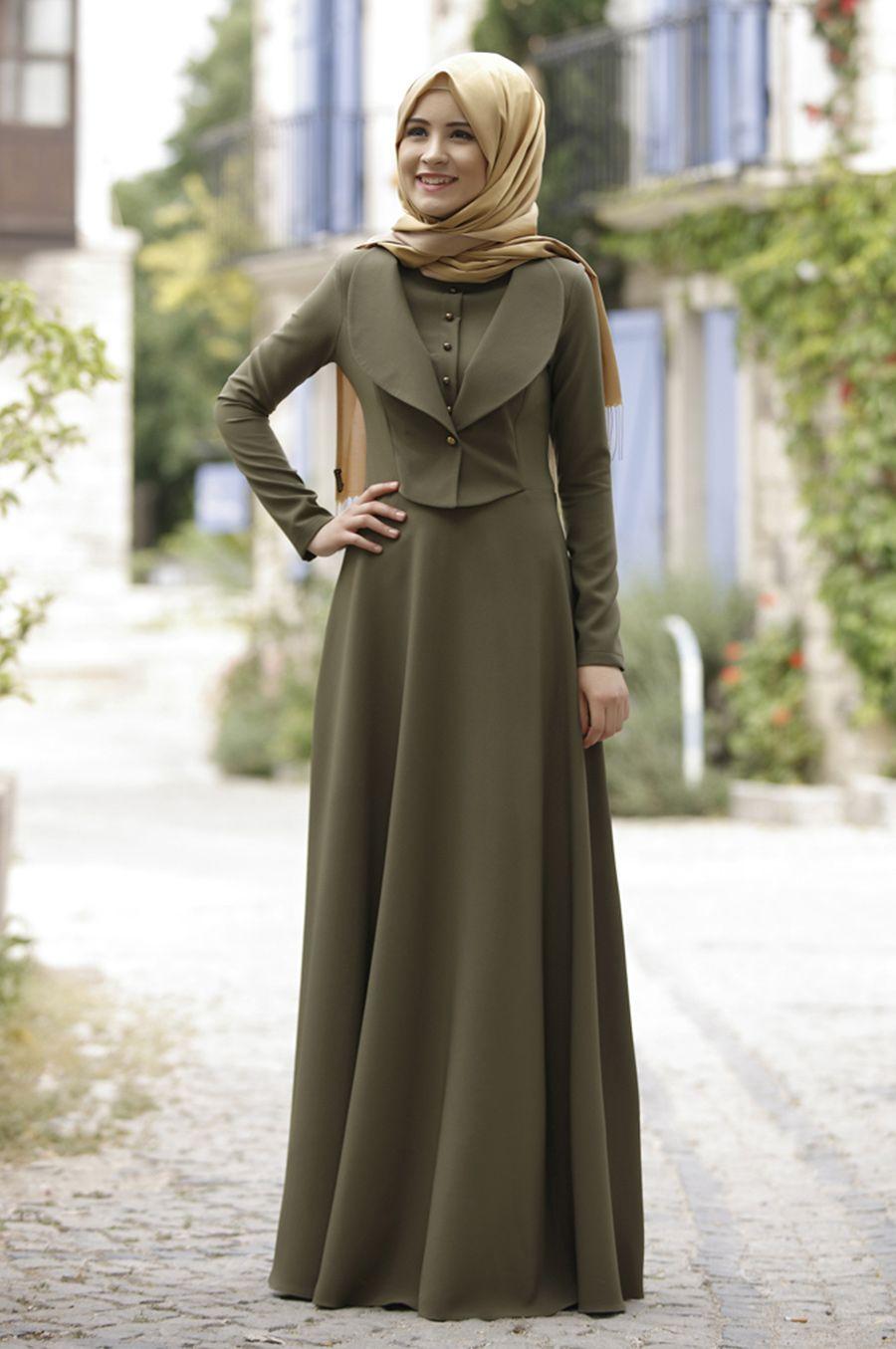 Rana Zen Endam Elbise Haki Elbise Elbise Modelleri Musluman Modasi