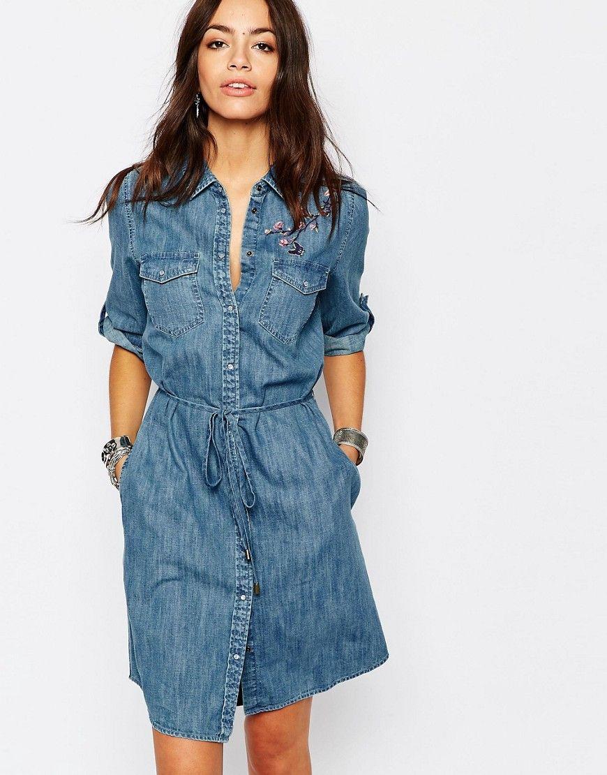 Image 1 - Esprit - Robe chemise en jean avec broderies