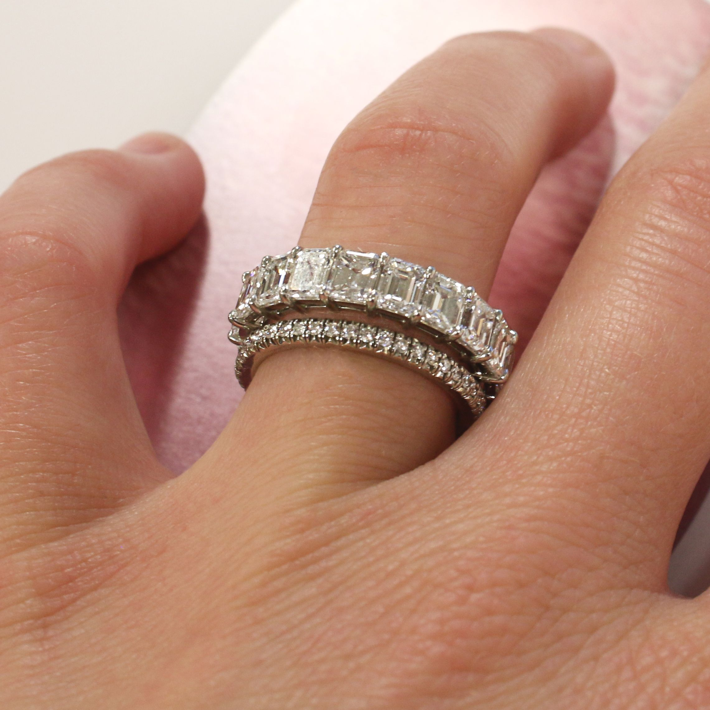 oval with set diamond cut file bands and platinum wedding bridal matching channel ring shoulders