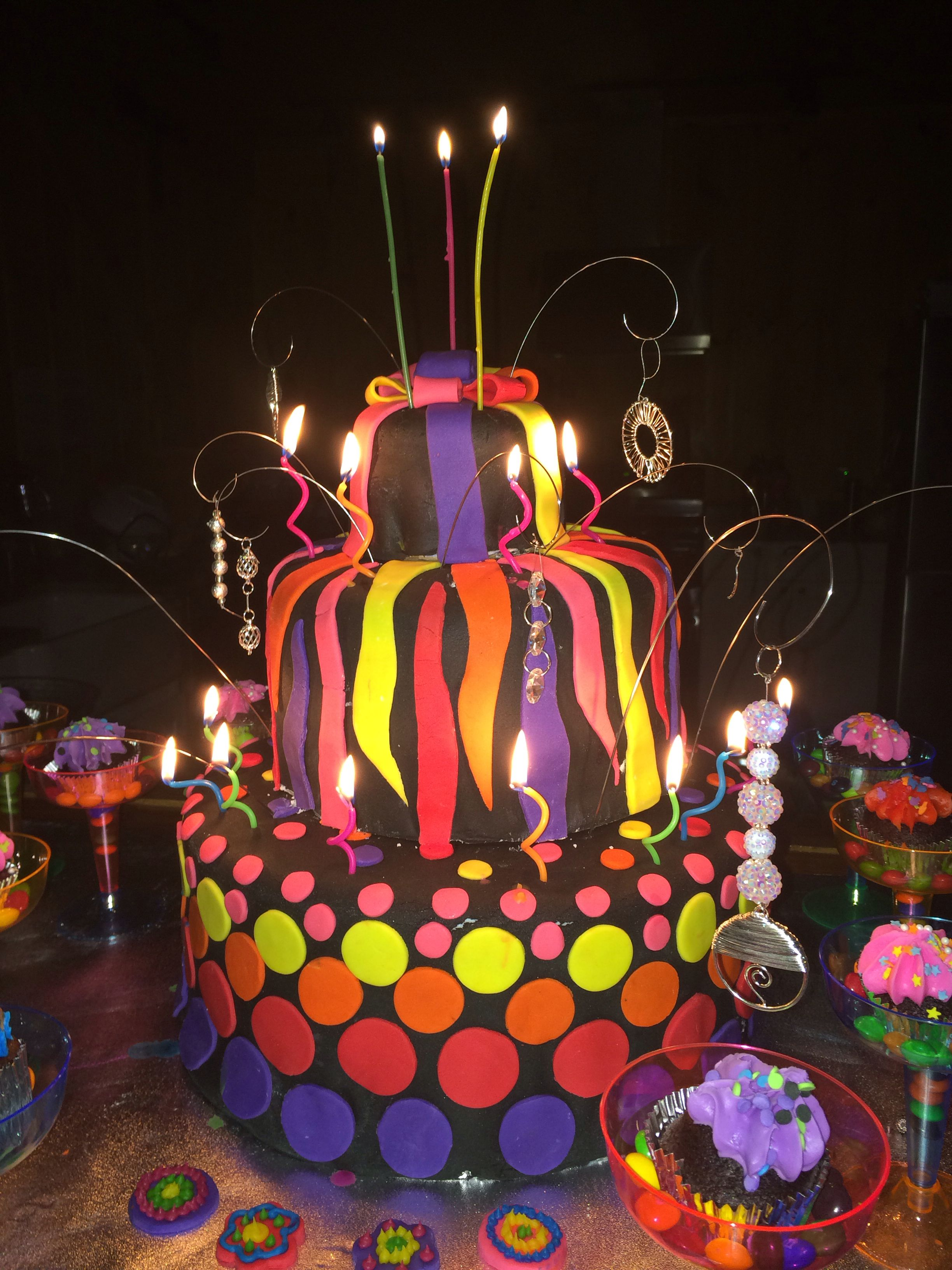 Neon Glow In The Dark Birthday Cake Idea Random