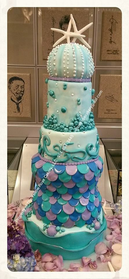 All Edible Mermaid Themed Wedding Cake Www Facebook Theyellowrosecakeryfl The Yellow