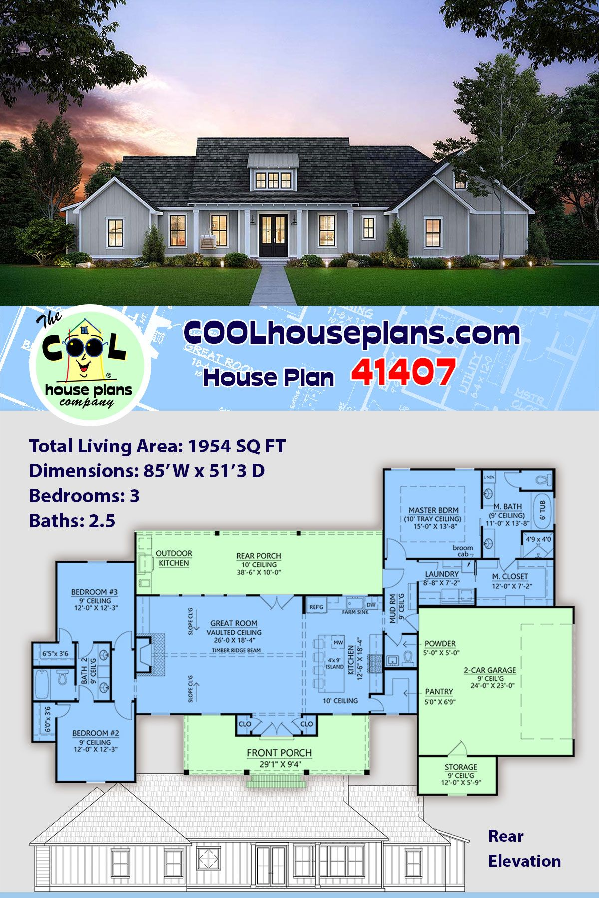 Southern Style House Plan 41407 With 3 Bed 3 Bath 2 Car Garage In 2020 Family House Plans House Plans Farmhouse Country Style House Plans